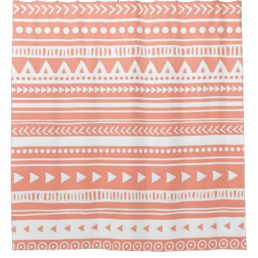 Aztec Themed Coral Peach Pink Tribal Pattern Shower Curtain