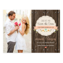 Coral Peach RUSTIC FLORAL BOHO Save the Date Postcard
