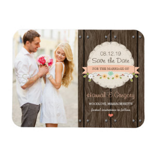 Coral Peach Rustic Floral Boho Save the Date Rectangular Photo Magnet