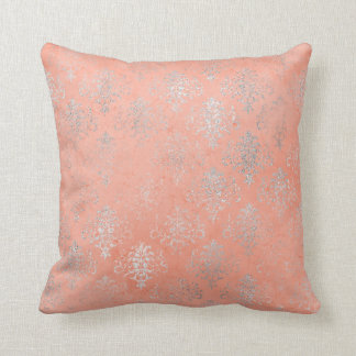 Coral Peach Salmon Damask Blush Silver Rose Floral Throw Pillow