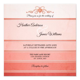 Coral Peach Striped Ton sur Ton Wedding Invitation