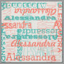 Coral Peach Teal Girl's Modern Name Collage Fabric