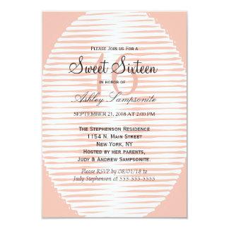 Coral Peach & White Abstract Stripes Card