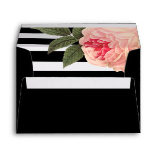 Coral Peonie and Black and White Wedding Envelopes