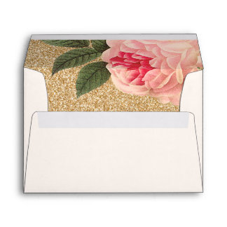 Coral Peonie and Faux Gold Glitter Envelopes