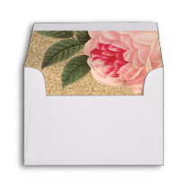Coral Peonie and Gold Glitter Wedding Envelopes