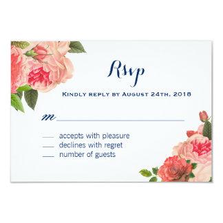 Coral Peonie on Navy RSVP Cards