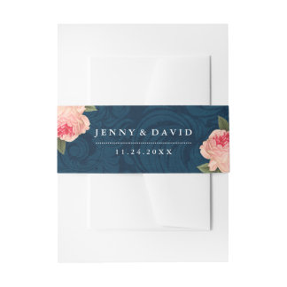 Coral Peonies and Navy Blue Belly Bands Invitation Belly Band