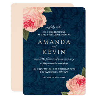 Marvelous Coral Peonies And Navy Wedding Invitations