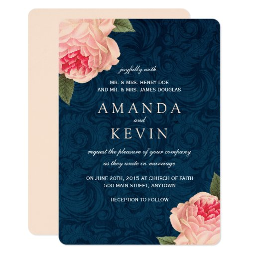 navy and coral wedding invitations coral peonies and navy wedding invitations zazzle 6112