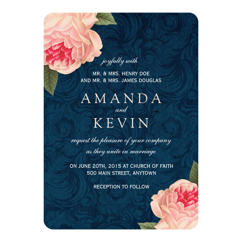 Floral Navy Blue Wedding Invitation with Peonies