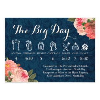 Coral Peonies and Navy Wedding Timeline Card
