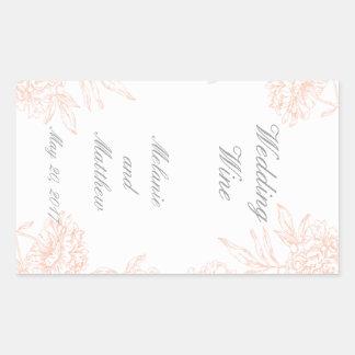 Coral Peonies Floral Wedding Wine Label Rectangular Sticker
