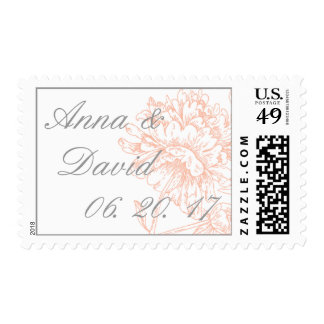 Coral Peonies Vintage Save The Date Name Postage