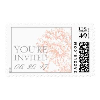 Coral Peonies Vintage Wedding Stamp