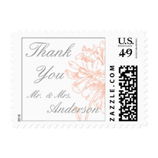 Coral Peonies Vintage Wedding Thank You Postage