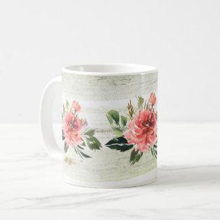 Coral Peonies Watercolor Mug