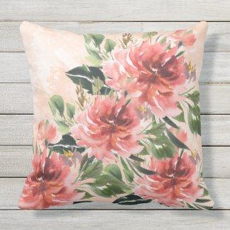 Coral Peonies Watercolor Pillow 20x20