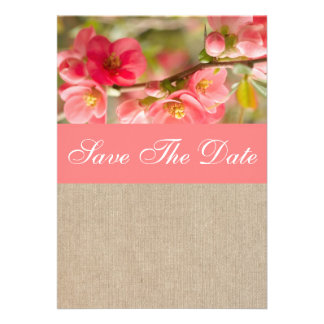 Coral Peony Save The Date Announcement Vintage