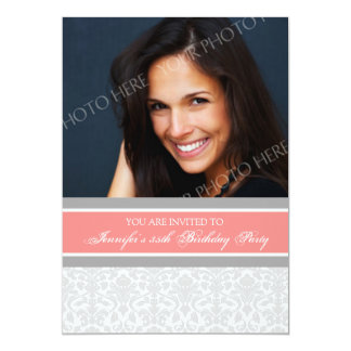 Coral Photo 35th Birthday Party Invitations