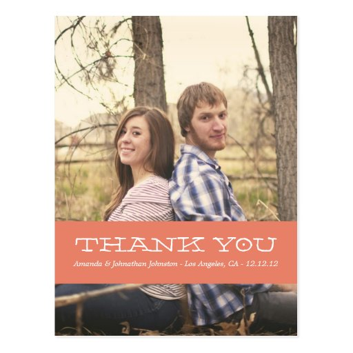 Coral Photo Thank You Wedding Post Cards