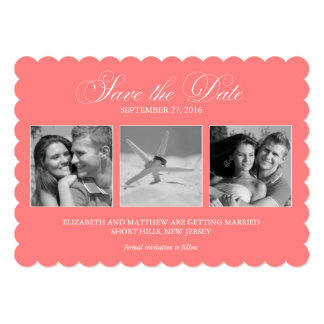 Coral Pink 3-Photo Template Wedding Save the Date Card
