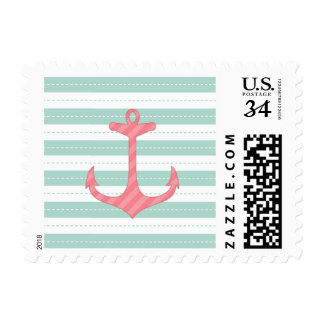 Coral Pink Anchor  Nautical Mint Green Stripes Postage