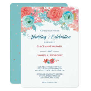 Teal And Coral Wedding Invitations Zazzle