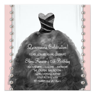 Coral Pink and Black Quinceanera Invitations