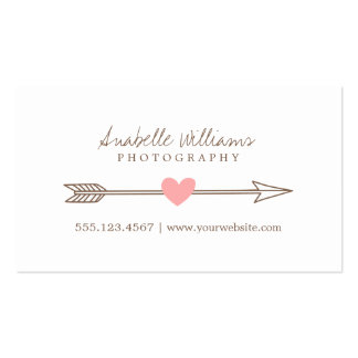 Coral Pink and Brown Heart and Arrow Business Card