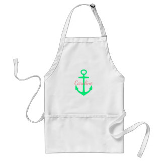 Coral Pink and Caribbean Green Anchor Personalized Adult Apron