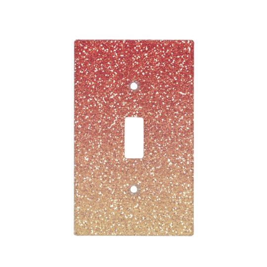 Coral Pink And Gold Faux Glitter Light Switch Cover