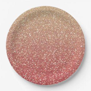 Coral Pink And Gold Faux Glitter Paper Plate at Zazzle