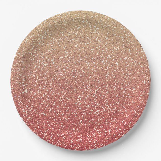Coral Pink and Gold Faux Glitter Paper Plate | Zazzle.com