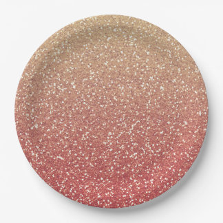 Coral Pink and Gold Faux Glitter 9 Inch Paper Plate
