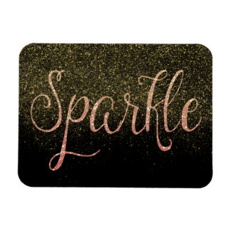 Coral Pink and Gold Faux Glitter Sparkle Magnet