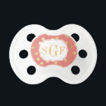 "Coral Pink and Gold Glitter City Dots Monogram Pacifier<br><div class=""desc"">Modern and on-trend dots of faux gold glitter and a custom three letter monogram give your baby some personalized bling.</div>"