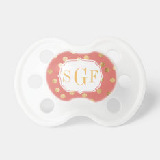 Coral Pink And Gold Glitter City Dots Monogram Pacifier at Zazzle