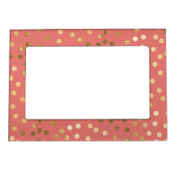 Coral Pink and Gold Glitter Dots Magnetic Picture Frame