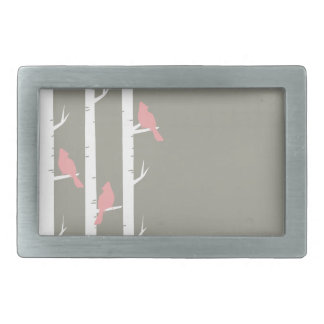 Coral Pink and Gray Birds and Birch Trees Rectangular Belt Buckle