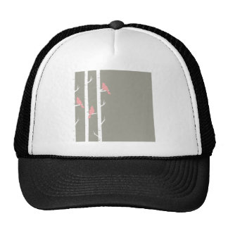 Coral Pink and Gray Birds and Birch Trees Trucker Hat