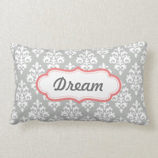 Coral Pink And Gray Dream Damask Pattern Lumbar Pillow at Zazzle