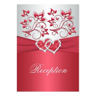 Coral Pink and Gray Floral Hearts Enclosure Card