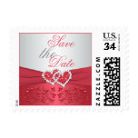 Coral Pink and Gray Floral Hearts Save the Date Postage