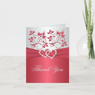Coral Pink and Gray Floral Thank You Note Card card