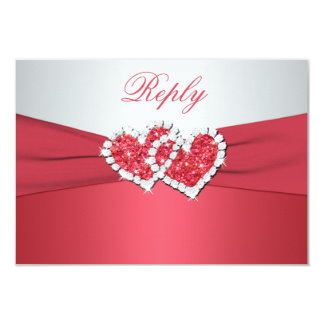 Coral Pink and Gray Joined Hearts Reply Card Personalized Announcements