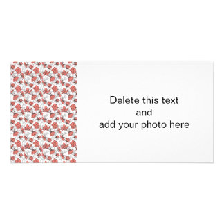 Coral Pink and Gray Vintage Floral Pattern Card