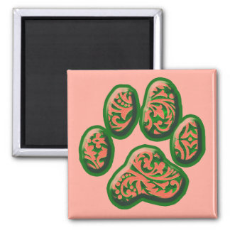 Coral Pink and Green Paisley Puppy Print Fridge Magnet