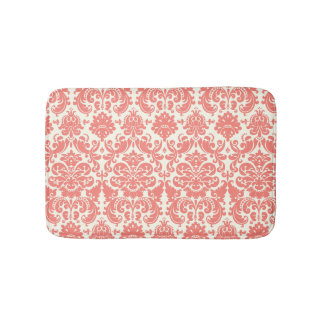 Coral Pink and Ivory Elegant Damask Pattern Bathroom Mat