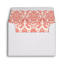 Coral Pink and Ivory Elegant Damask Pattern Envelope